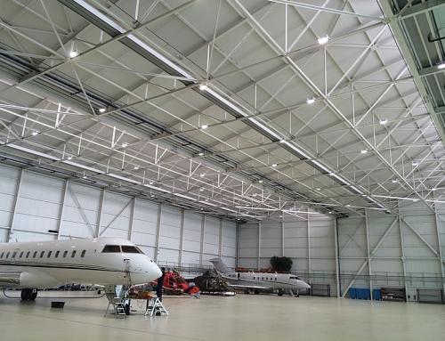 Eclairage LED d'un hangar aéroportuaire