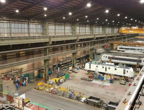 Eclairage LED d'un hangar de maintenance ferroviaire
