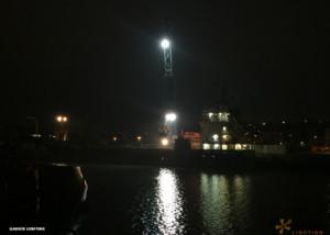 Equipement LED de grues dans un port maritime