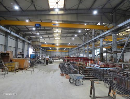 Equipement LED d'une usine d'éléments béton